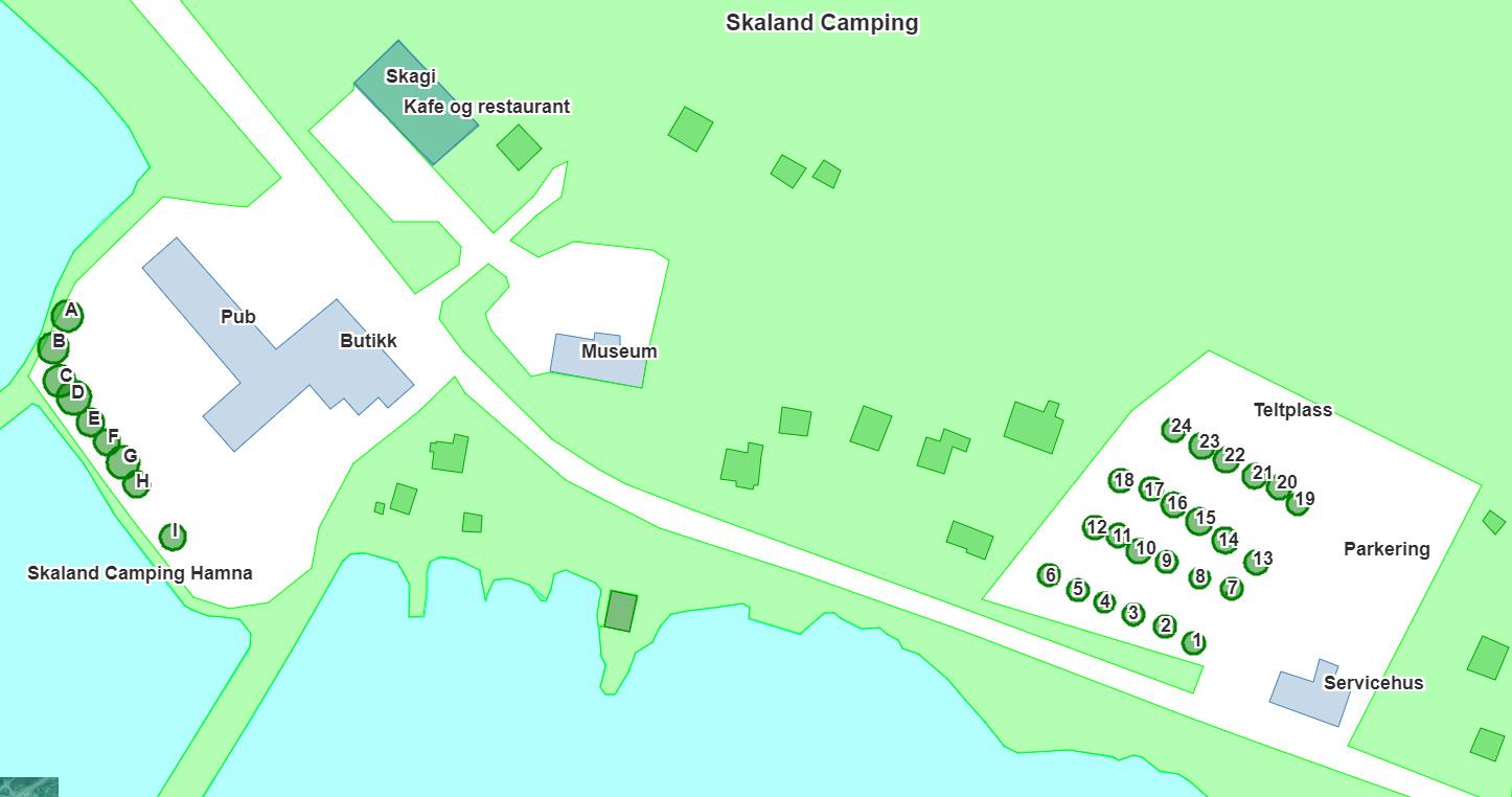 Kart over Skaland Camping på Senja
